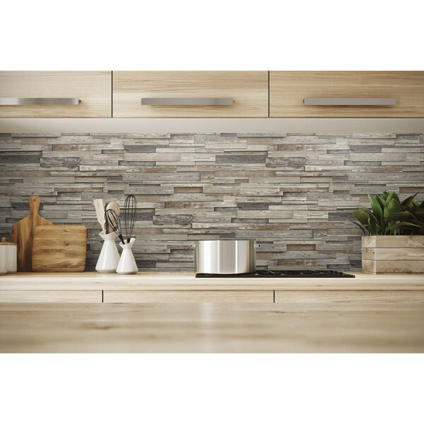 NextWall Brown Reclaimed Wood Plank Peel and Stick Wallpaper, image 4