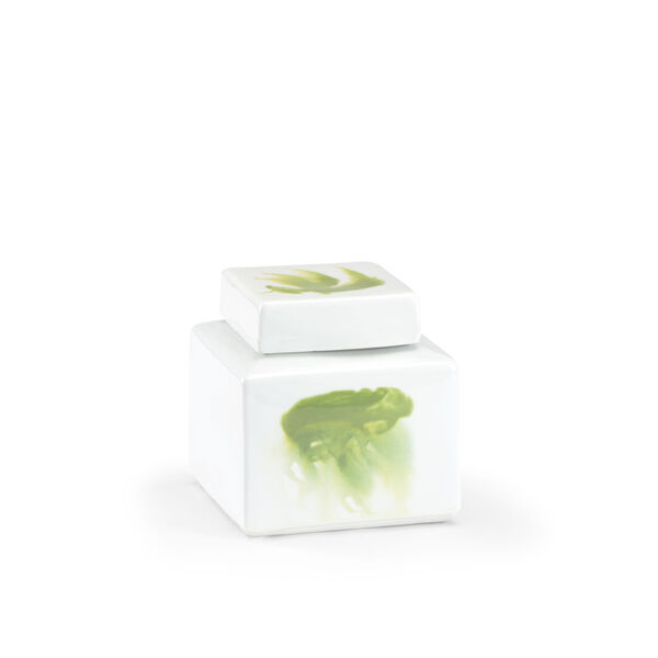 Green and White Six-Inch Jizhou Vase, image 1