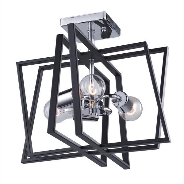 Middleton Matte Black and Polished Chrome Three-Light Geometric Semi Flushmount, image 1