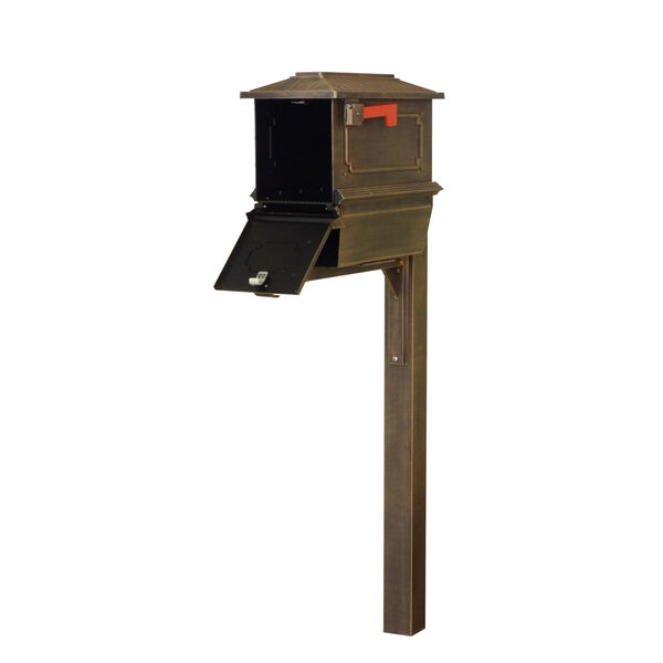Kingston Curbside Copper Mailbox with Newspaper Tube and Springfeild Mailbox Post, image 3