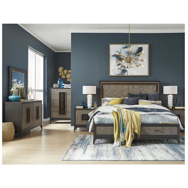 Ryker Nocturn Black and Coventry Gray Complete California King Panel Storage Bed, image 5