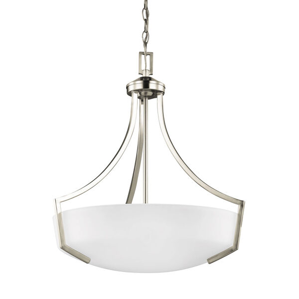 Hanford Brushed Nickel Energy Star Three-Light LED Pendant with Satin Etched Glass, image 1