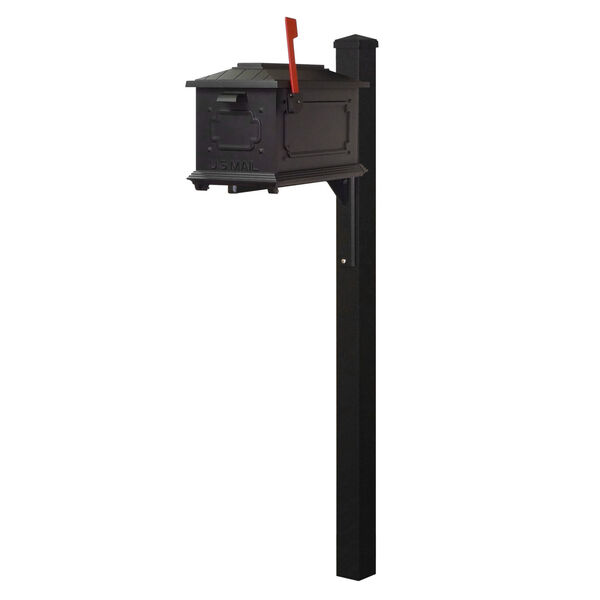 Kingston Curbside Black Mailbox and Wellington Direct Burial Mailbox Post Smooth Square, image 2