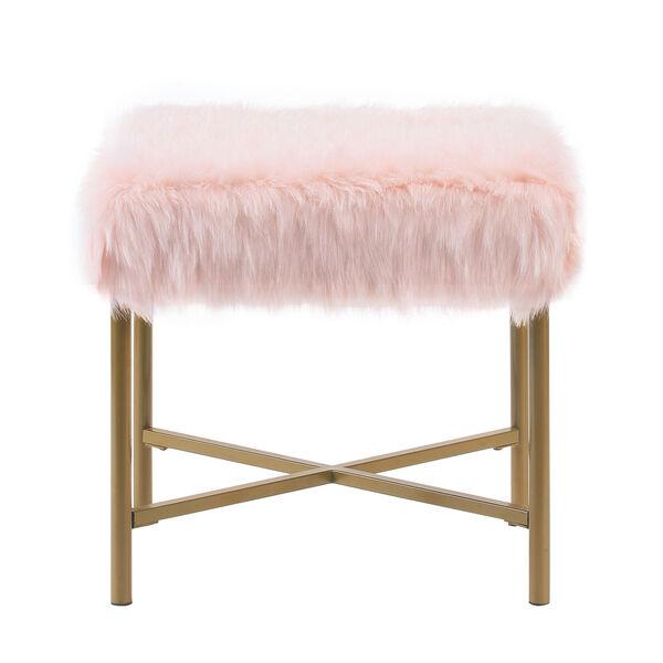 Faux Fur Square Ottoman - Pink, image 1