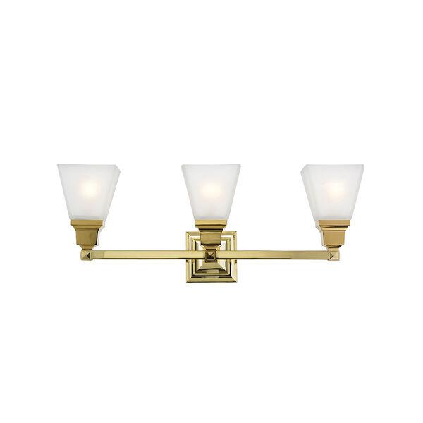 Mission Polished Brass 25.5-Inch Three-Light Bath Light, image 1
