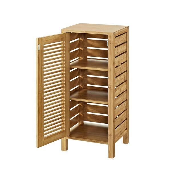 Navaeh Natural Bamboo Bathroom One Door Floor Cabinet, image 2