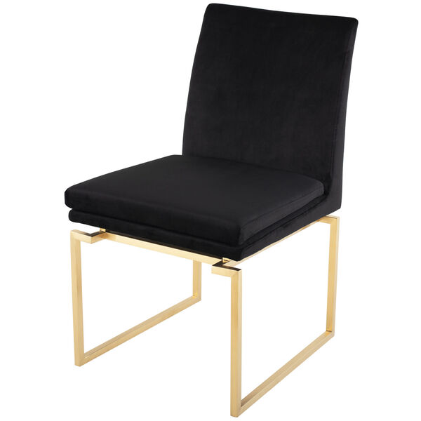 Savine Black and Brushed Gold Dining Chair, image 5