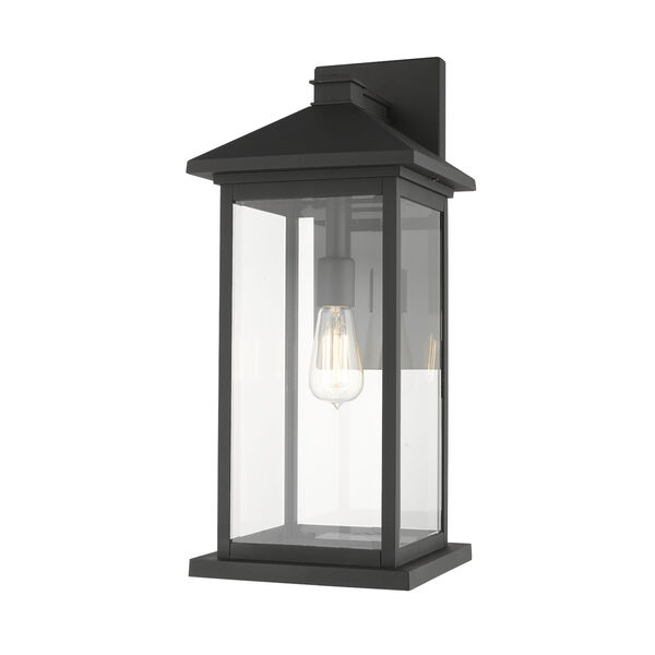 Black One-Light Outdoor 9-Inch Wall Sconce With Transparent Beveled Glass, image 1