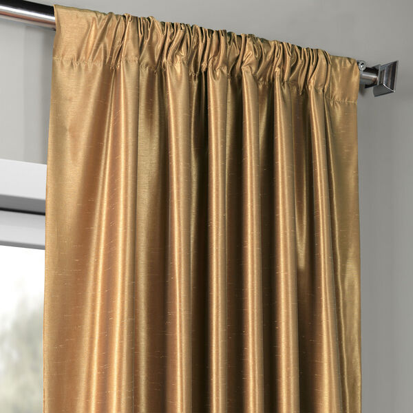 Flax Gold Vintage Textured Faux Dupioni Silk Single Panel Curtain, 50 X 84, image 3