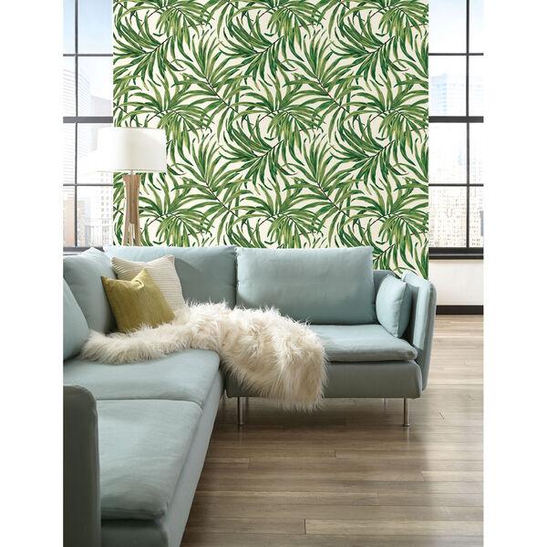 Ashford House Tropics White and Green Bali Leaves Wallpaper, image 3