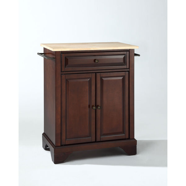 LaFayette Natural Wood Top Portable Kitchen Island in Vintage Mahogany Finish, image 1