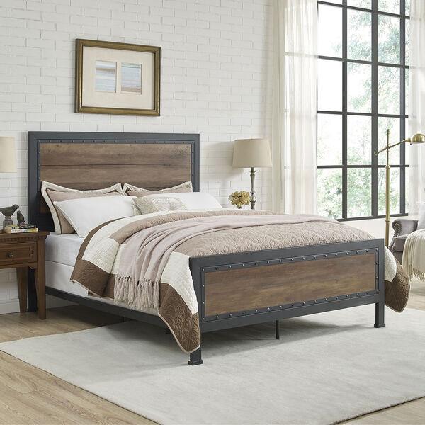 Queen Size Industrial Wood and Metal Bed - Rustic Oak, image 1