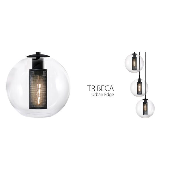 Tribeca 10 Inch One-Light - Textured Black with Clear Glass - Pendant, image 2
