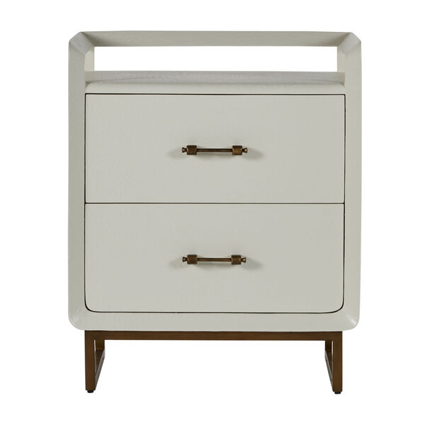 Quentin Faux White and Brushed Gold Nightstand, image 3