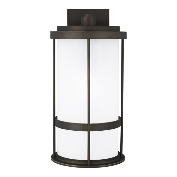 Wilburn Antique Bronze One-Light Outdoor Large Wall Sconce with Satin Etched Shade Energy Star, image 1