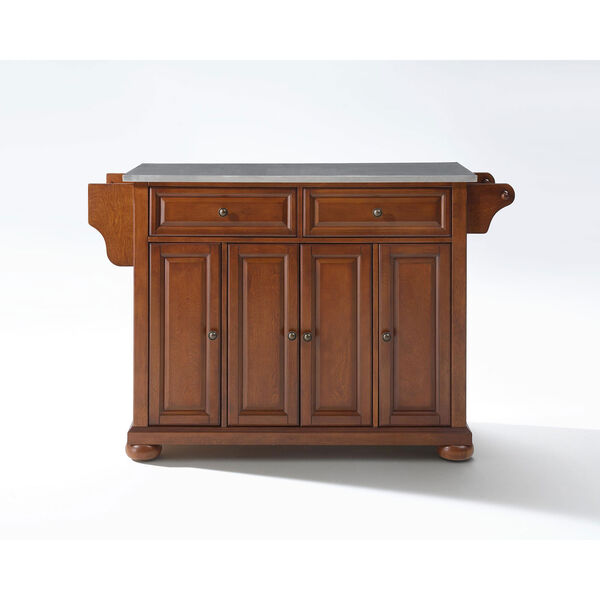 Alexandria Stainless Steel Top Kitchen Island in Classic Cherry Finish, image 1