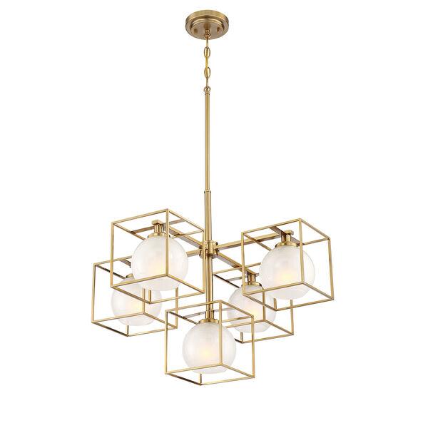 Cowen Brushed Gold Five-Light Chandelier, image 3