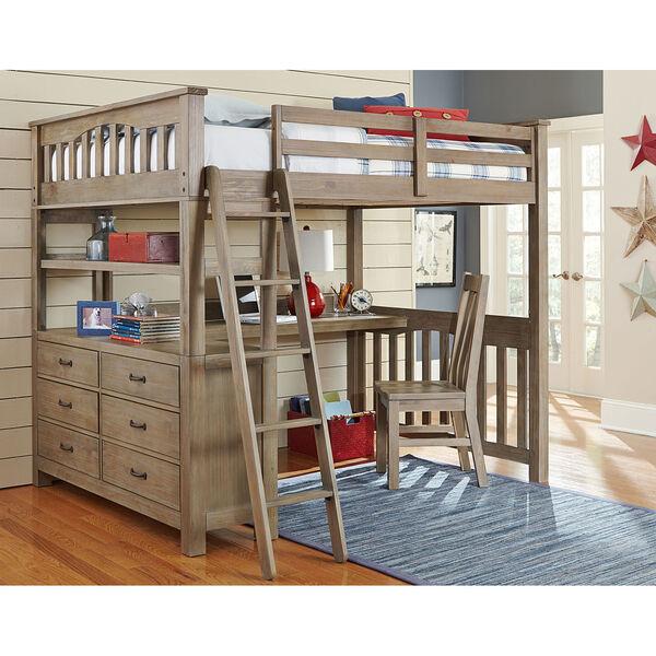 Highlands Driftwood Full Loft Bed with Desk, image 1