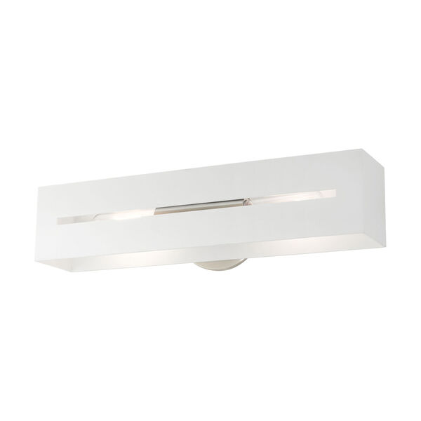 Soma Textured White and Brushed Nickel Two-Light ADA Wall Sconce, image 4