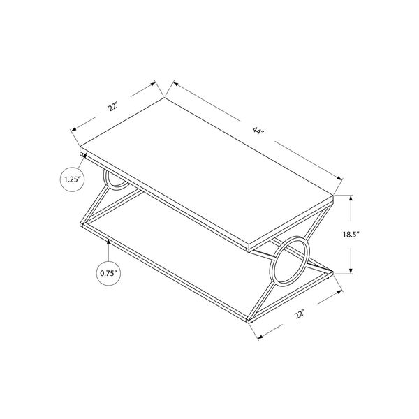 Glossy White and Chrome 22-Inch Coffee Table, image 5