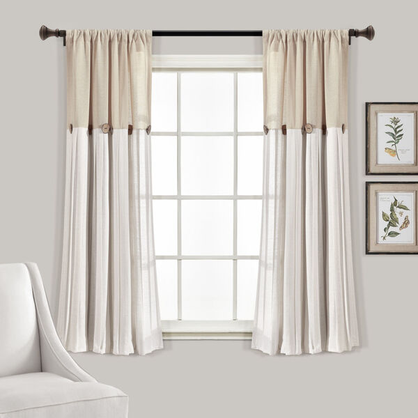 Linen Button Beige and Off White 40 x 63 In. Single Window Curtain Panel, image 1