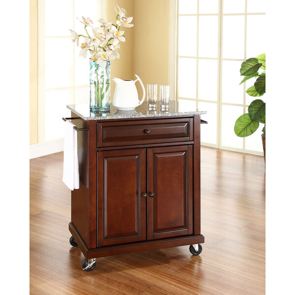 Solid Granite Top Portable Kitchen Cart/Island in Vintage Mahogany Finish, image 3