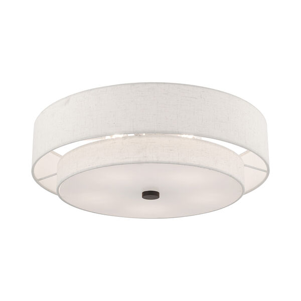Meridian English Bronze 22-Inch Five-Light Ceiling Mount with Hand Crafted Oatmeal Hardback Shade, image 4