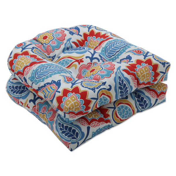 Moroccan Blue Red Yellow Seat Cushion, Set of Two, image 1