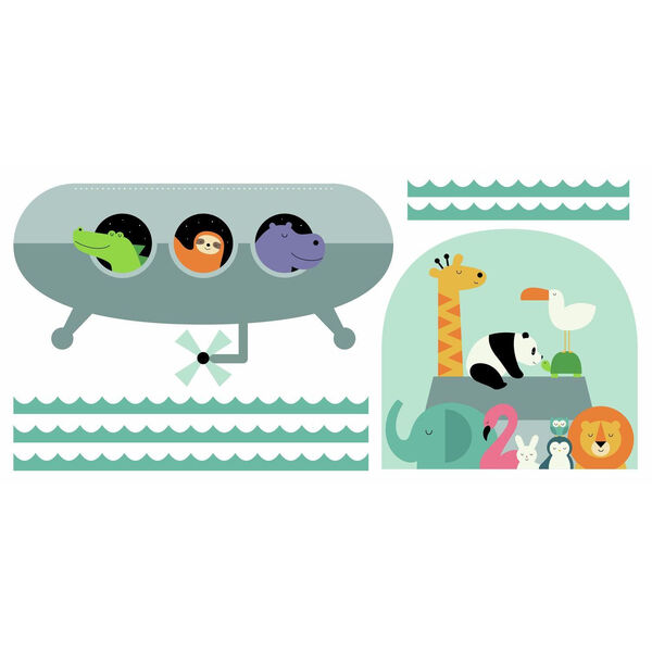 Animal Underwater Expedition Gray, Orange, Yellow, Green And Blue Peel and Stick Gaint Wall Decal - SAMPLE SWATCH ONLY, image 2