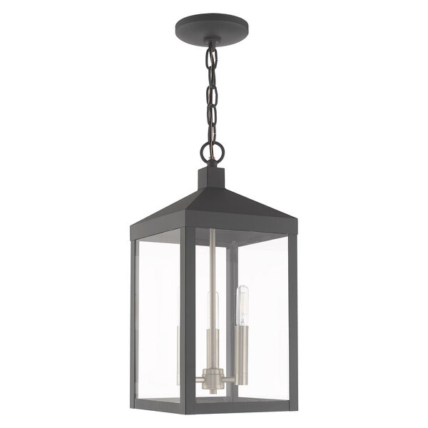 Nyack Scandinavian Gray Eight-Inch Three-Light Pendant Lantern, image 2