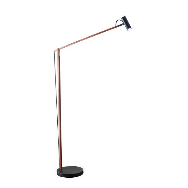 Crane Walnut Wood and Black LED Floor Lamp, image 1