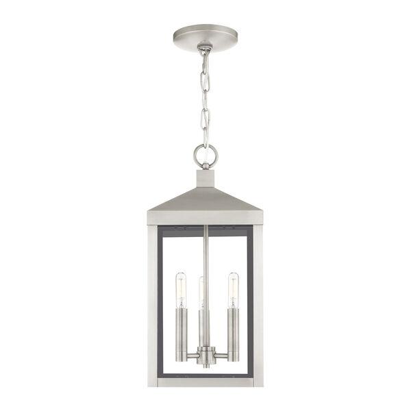 Nyack Brushed Nickel Three-Light Outdoor Pendant Lantern, image 3