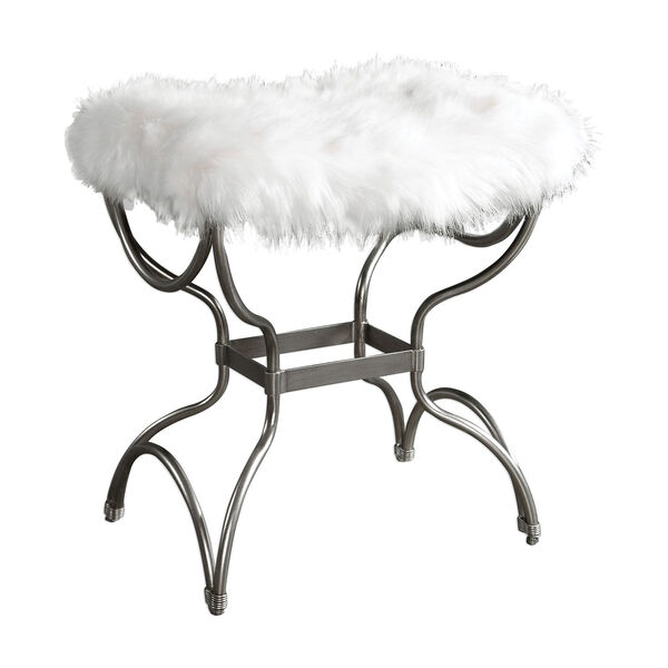 Channon White Fur Small Bench, image 2
