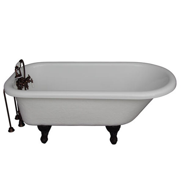 Oil Rubbed Bronze Tub Kit 67-Inch Acrylic Roll Top, Tub Filler, Supplies, and Drain, image 1