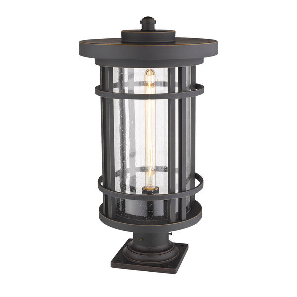 Jordan Oil Rubbed Bronze One-Light Outdoor Pier Mounted Fixture With Transparent Seedy Glass, image 3
