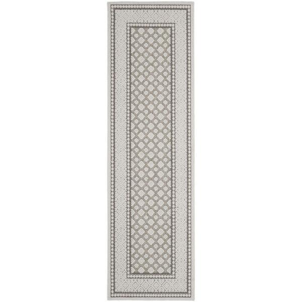 Calobra Light Gray and White 2 Ft. 2 In. x 7 Ft. 6 In. Indoor/Outdoor Runner Rug, image 2