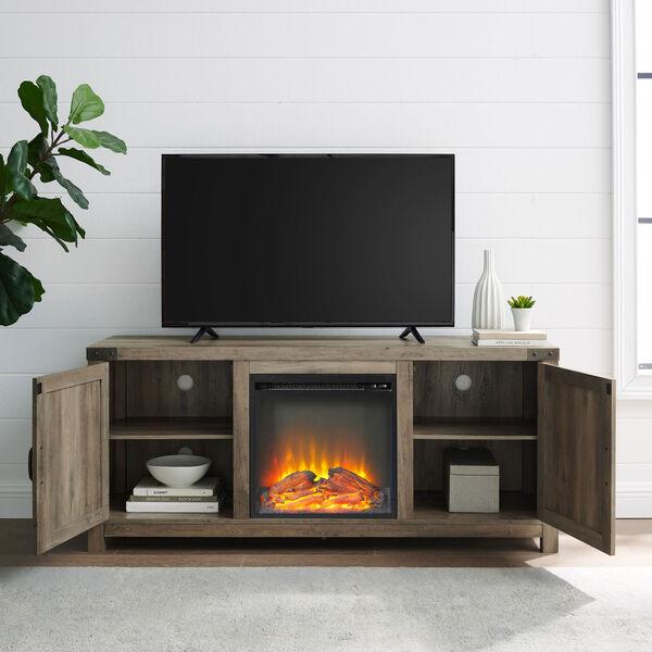 58-Inch Barn Door Fireplace TV Stand - Grey Wash, image 6