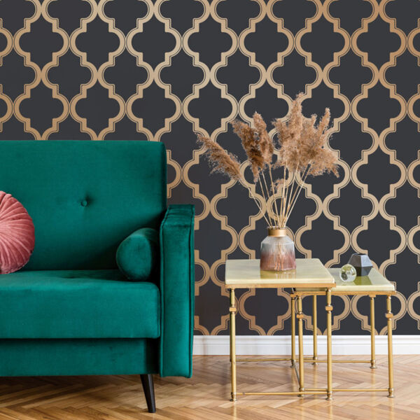Marrakesh Midnight and Metallic Gold Peel and Stick Wallpaper, image 1