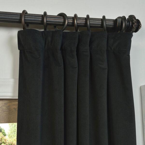 Signature Warm Black Blackout Velvet Pole Pocket Single Panel Curtain, 50 X 108, image 2