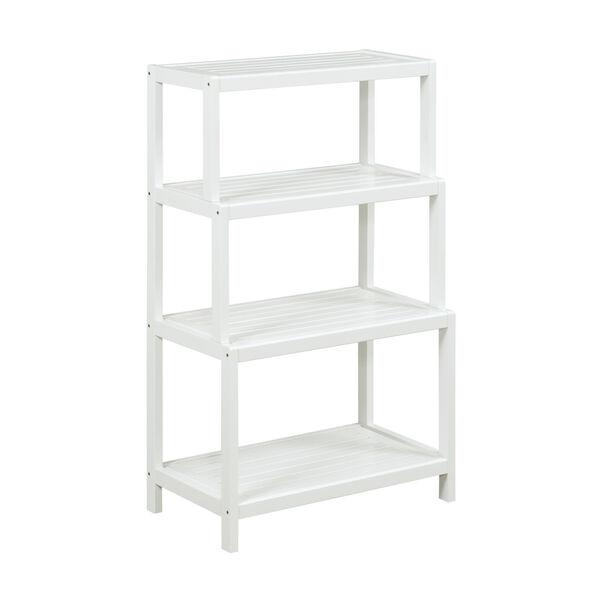 Dunnsville White 4-Tier Step Back Shelf Bookcase, image 1