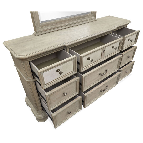 Jocelyn Weathered Taupe Drawer Dresser with Removable Mirror, image 3