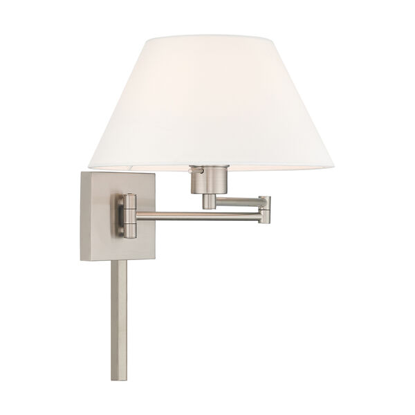 Swing Arm Wall Lamps Brushed Nickel 13-Inch One-Light Swing Arm Wall Lamp with Hand Crafted Off-White Hardback Shade, image 4