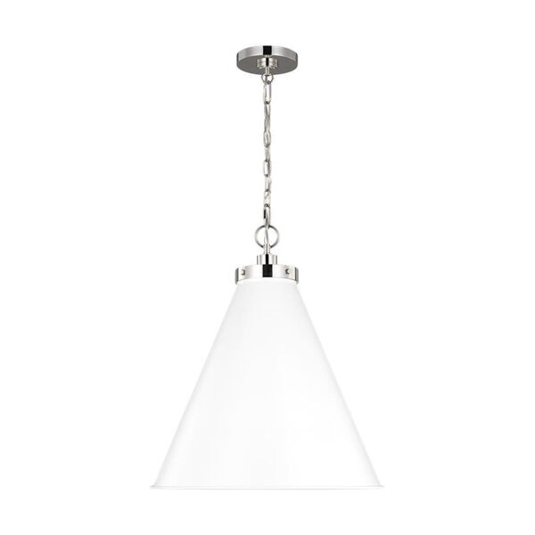 Wellfleet Matte White and Silver 20-Inch One-Light Pendant, image 2