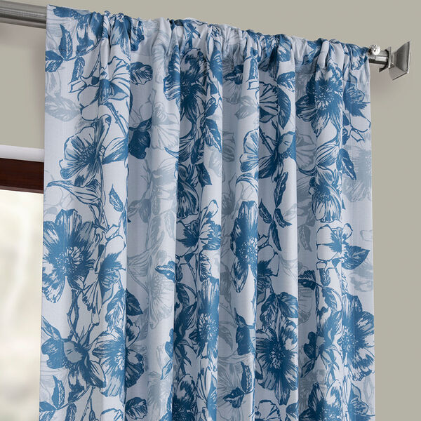 Blue Printed 96 x 50-Inch Polyester Blackout Curtain Single Panel, image 3