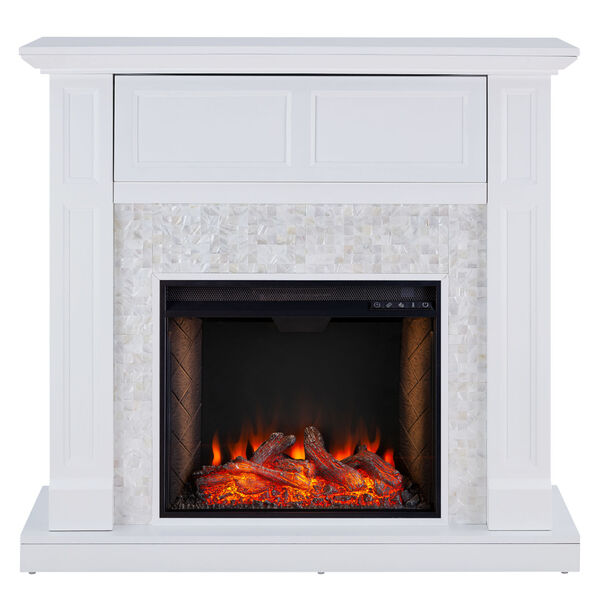 Nobleman White Smart Media Electric Fireplace with Tile Surround, image 2