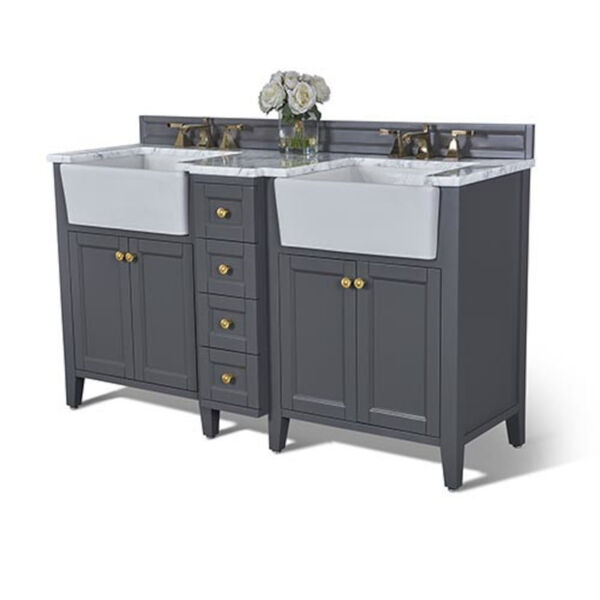 Adeline Sapphire 60-Inch Vanity Console with Farmhouse Sinks, image 1