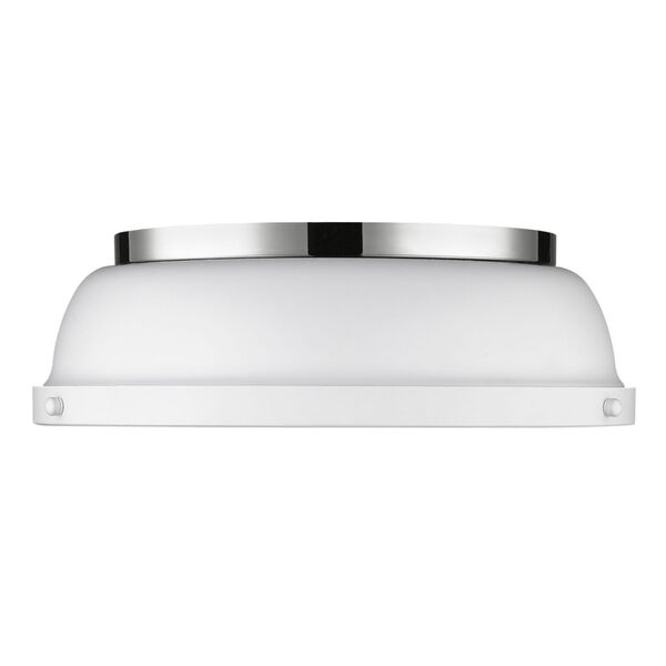Duncan CH Chrome 14-Inch Two-Light Flush Mount with a Matte White Shade, image 2