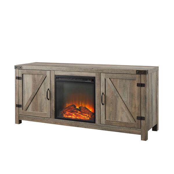58-Inch Barn Door Fireplace TV Stand - Grey Wash, image 5