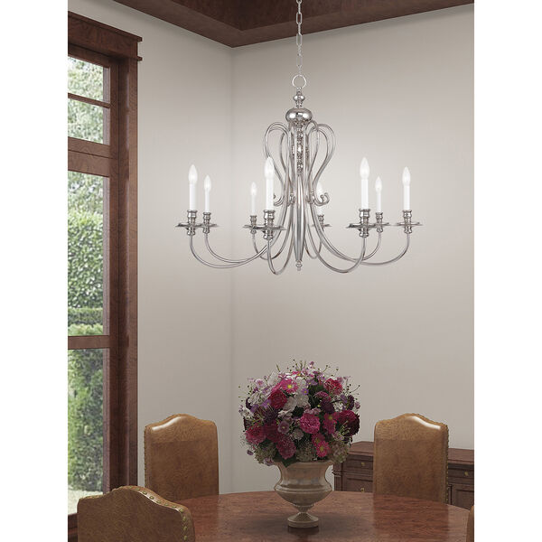 Caldwell Polished Nickel 35-Inch Eight-Light Chandelier, image 2