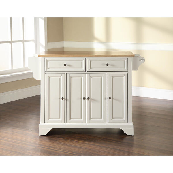 LaFayette Natural Wood Top Kitchen Island in White Finish, image 5